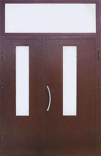 двери металлические двустворчатые с верхней вставкой